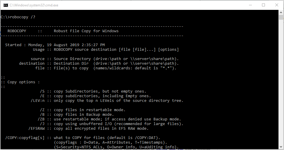 Backup your files using ROBOCOPY – A faster and more